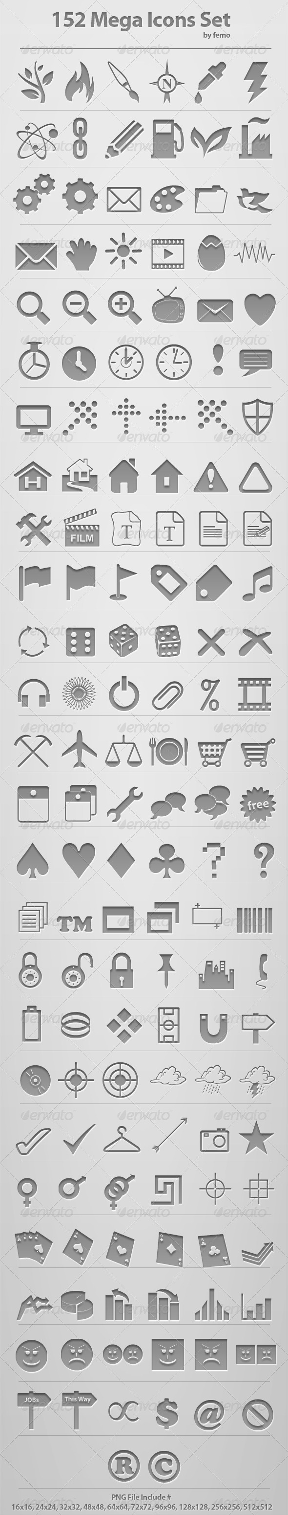 GraphicRiver 152 Mega Icons Set 109746