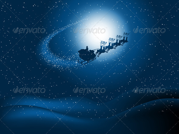 Graphic River Santa in the sky Vectors -  Conceptual  Seasons/Holidays  Christmas 1062566