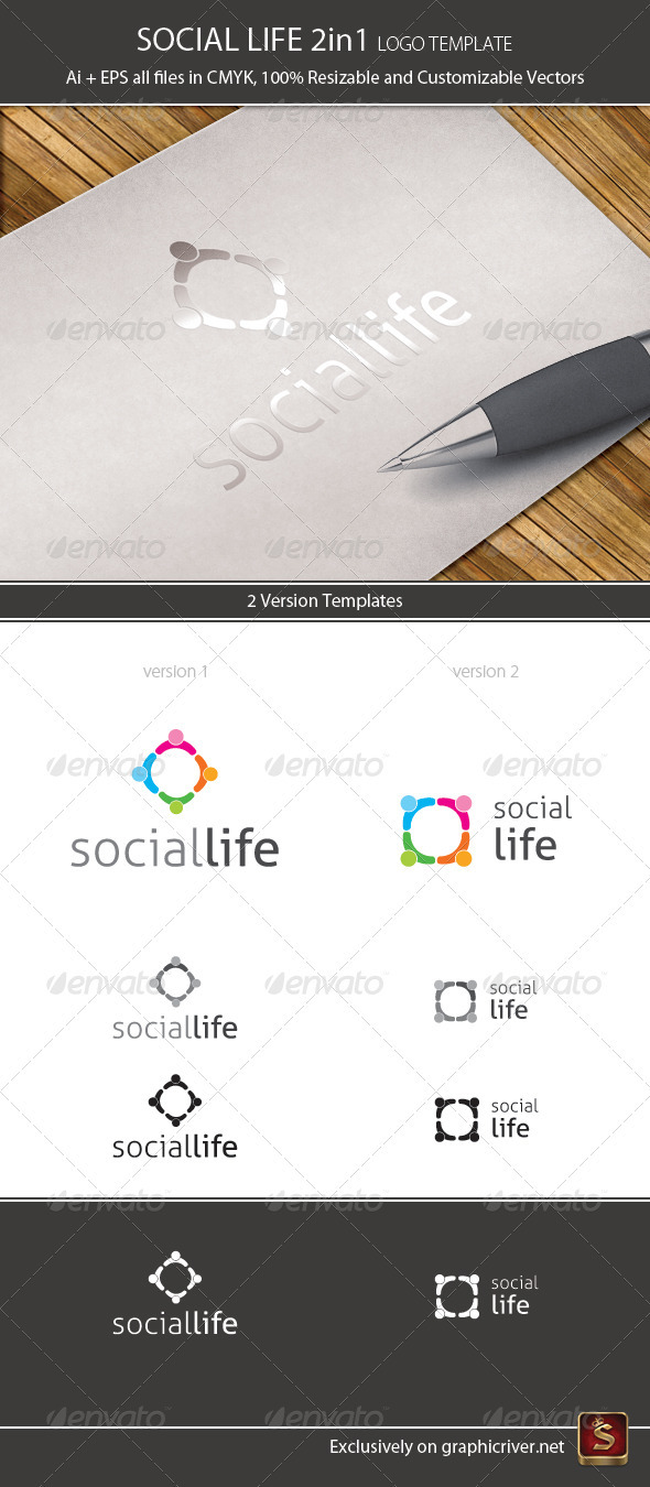 Graphic River Social Life Logo Template 2in1 Logo Templates -  Humans 1062600