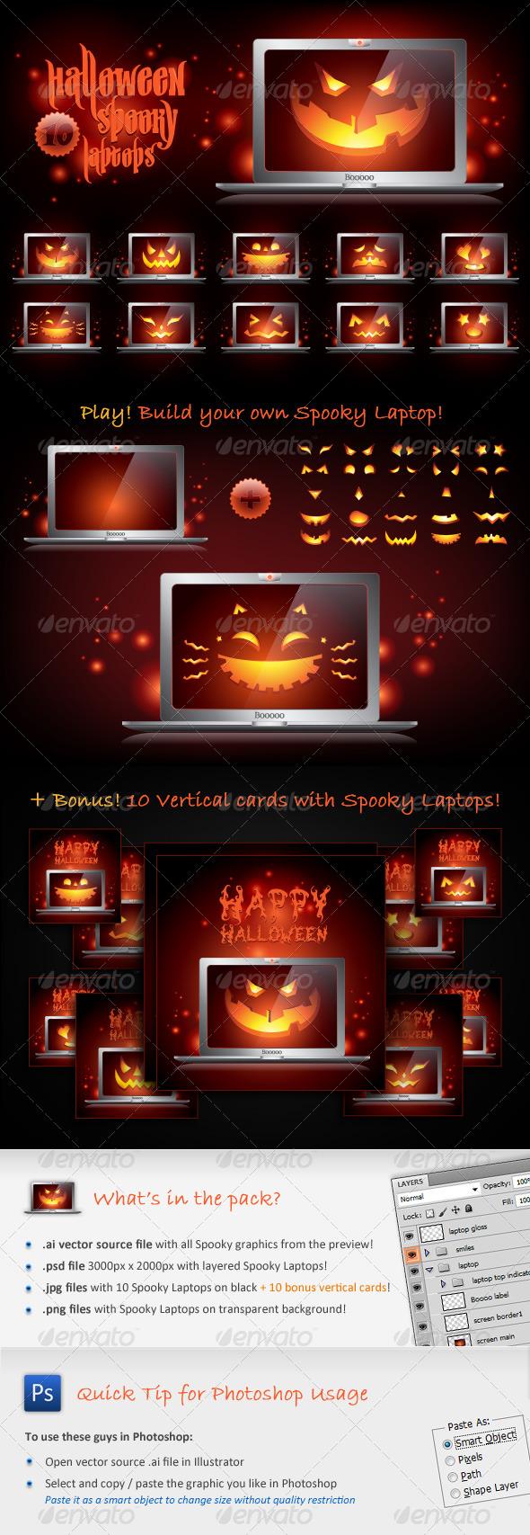 GraphicRiver Halloween Spooky Laptops 132423
