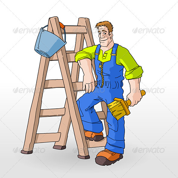 Graphic River Painter Painting With Ladder Vectors -  Characters  People 1063763