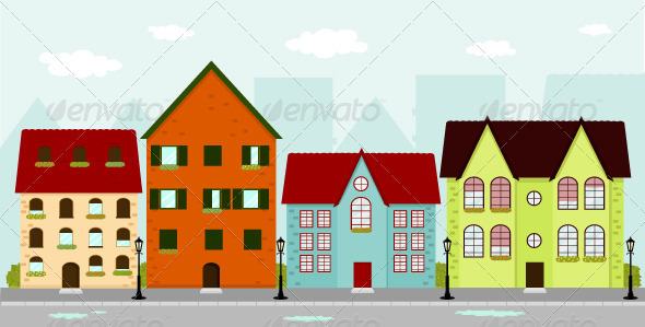Graphic River Townhouses Vectors -  Objects  Buildings 1066865