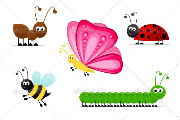 Graphic River Simple Cartoon Insects Vectors -  Characters  Animals 1067254