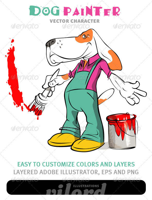Graphic River Dog Painter Mascot Vectors -  Characters  Animals 1067399