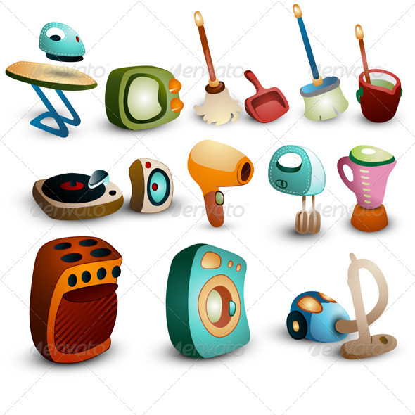 Graphic River Retro Household Icons Vectors -  Conceptual  Technology  Retro 1068717