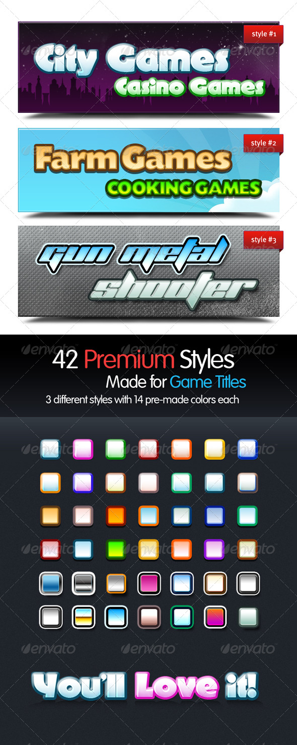 GraphicRiver Premium Text Styles for Games 132975