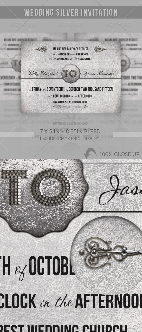 GraphicRiver Wedding Silver Invitation 1072640