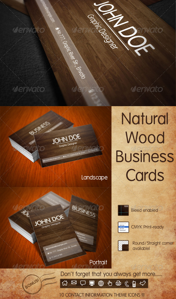 GraphicRiver Nature Wood Business Card 128780