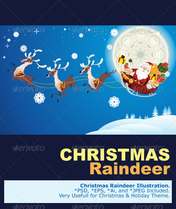 Graphic River Reindeer And Santa Claus Christmas Vectors -  Conceptual  Seasons/Holidays  Christmas 1073997