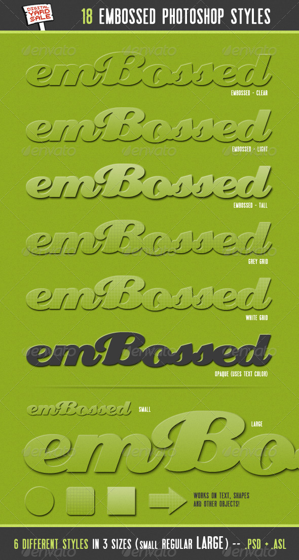 GraphicRiver emBossed 18 Photoshop Layer Styles 133778