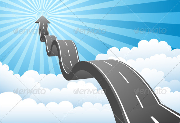 GraphicRiver Arrow Road Through the Clouds 133780