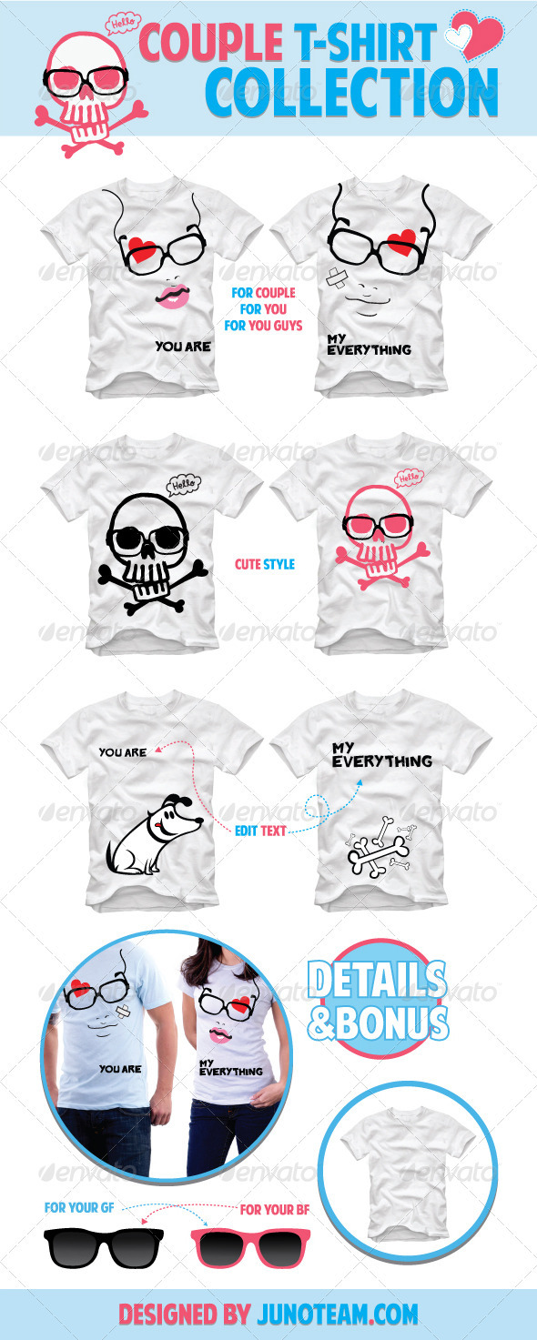 GraphicRiver Couple T-Shirt Collection 1082462
