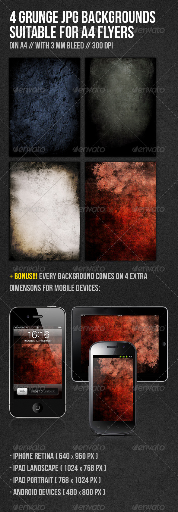 GraphicRiver Grunge DIN A4 Flyer Backgrounds 1084281