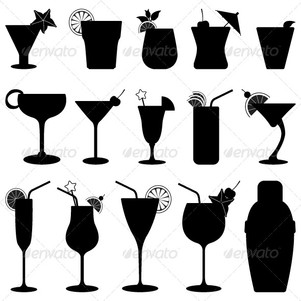 GraphicRiver Cocktail Drink Fruit Juice Silhouette 134477