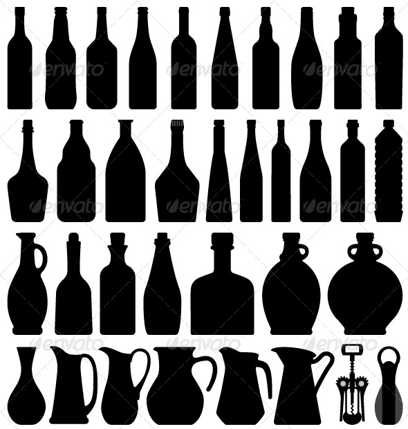 GraphicRiver Wine Beer Bottle Silhouette 134479