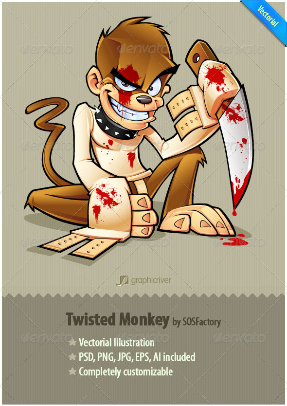 GraphicRiver Twisted Monkey mascot design 134497