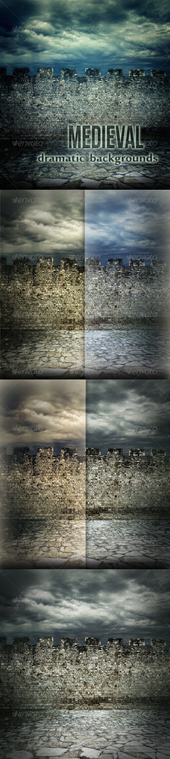 GraphicRiver Medieval Wall Dramatic Backgrounds 1084911