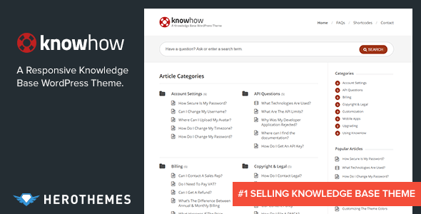 Knowhow a knowledge base wordpress theme by herothemes for Access knowledge base template
