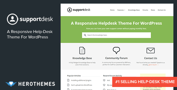 Supportdesk a responsive helpdesk theme by herothemes for Access knowledge base template