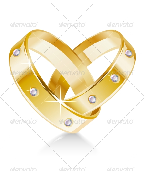 GraphicRiver Two wedding rings shaped heart 135421