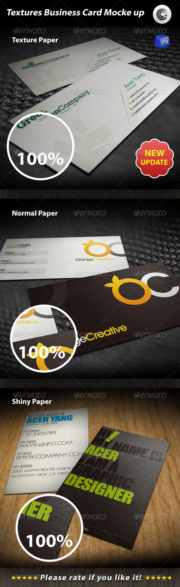 GraphicRiver Textures Business Card Mock-up 595482