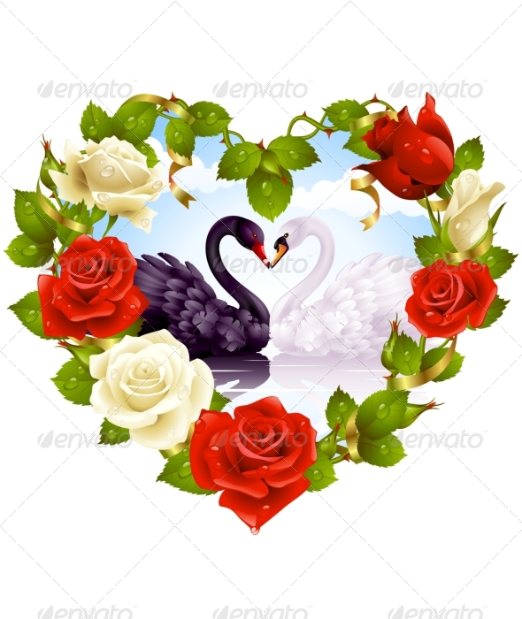 Graphic River Roses and couple Swans Greeting card 06. Vectors -  Conceptual  Seasons/Holidays  Weddings 135687