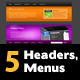 5 Unique Headers with Menus - GraphicRiver Item for Sale