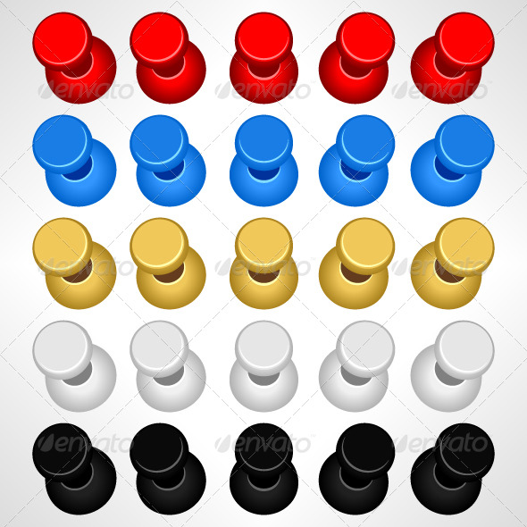 Graphic River Pushpin Push Pins Colorful Vectors -  Objects  Man-made objects 135807