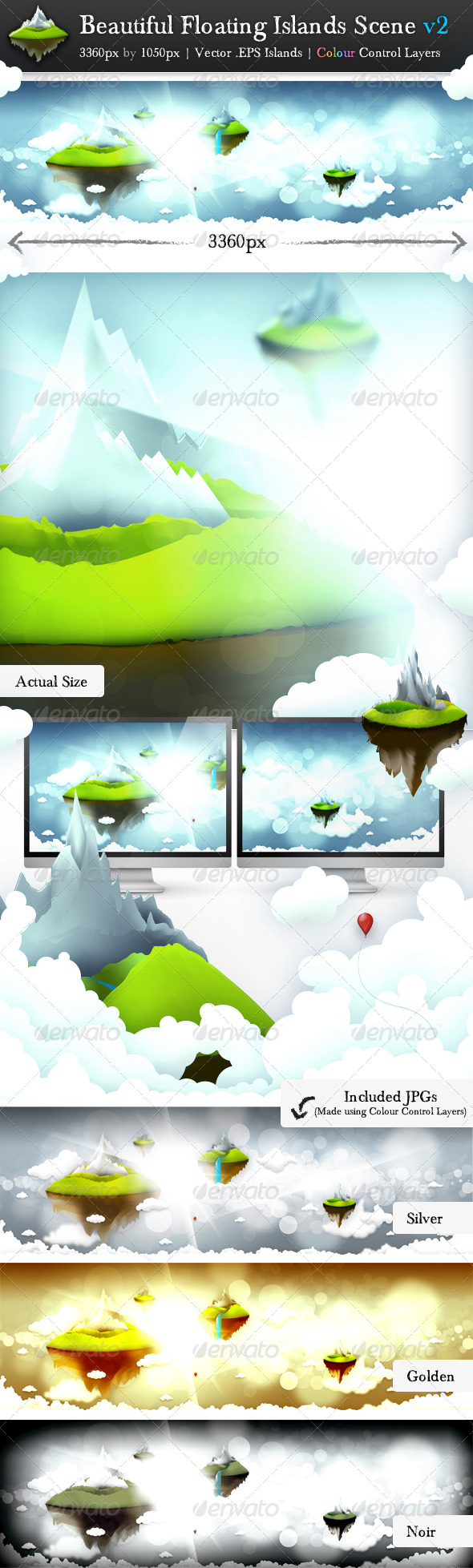 GraphicRiver Beautiful Floating Islands Scene v2 136367