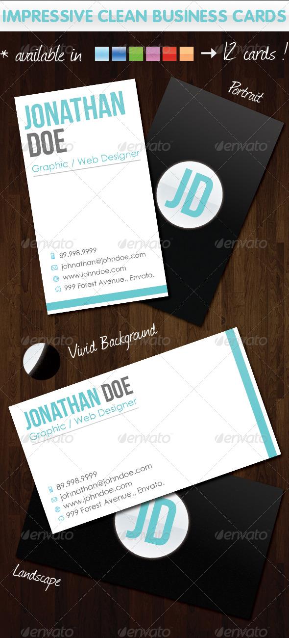 GraphicRiver Impressive Clean Business Cards 136572