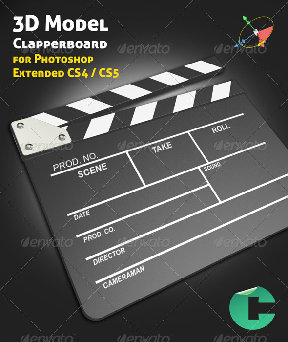 GraphicRiver 3D Object Clapperboard 126204