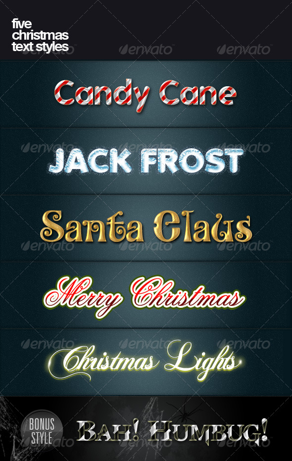 GraphicRiver Five Christmas text styles 138401