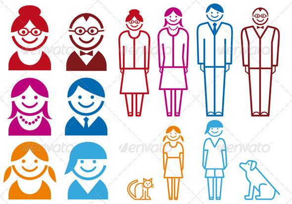 GraphicRiver Family Icon Set 1133559