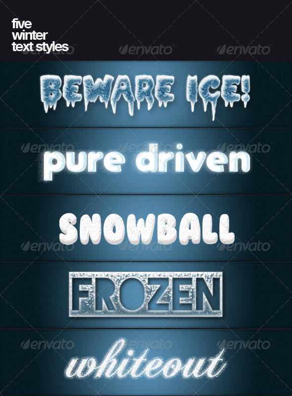 GraphicRiver Five winter text styles 139726