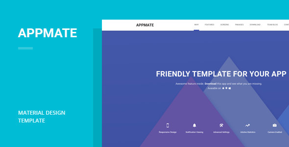 google apps email templates - appmate material design app landing template by