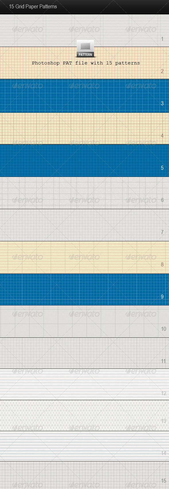 GraphicRiver 15 Grid Paper Patterns 140557