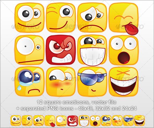 GraphicRiver 12 Square emoticons 31392