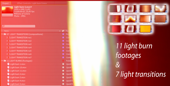 After Effects Project - VideoHive Light transitions & burns AE CS4 & footag ...