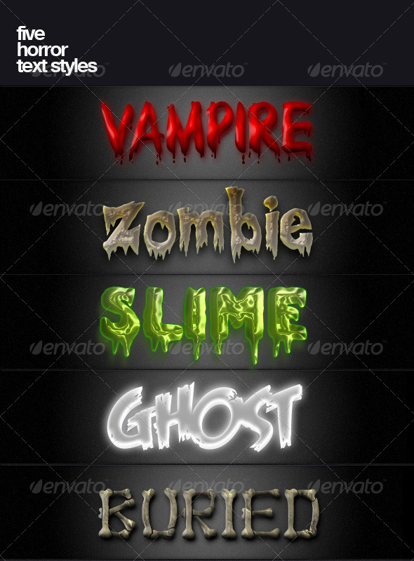 GraphicRiver Five Horror Text Styles 140927