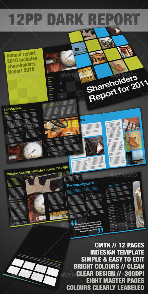 GraphicRiver 12pp Dark Report Brochure InDesign 141738
