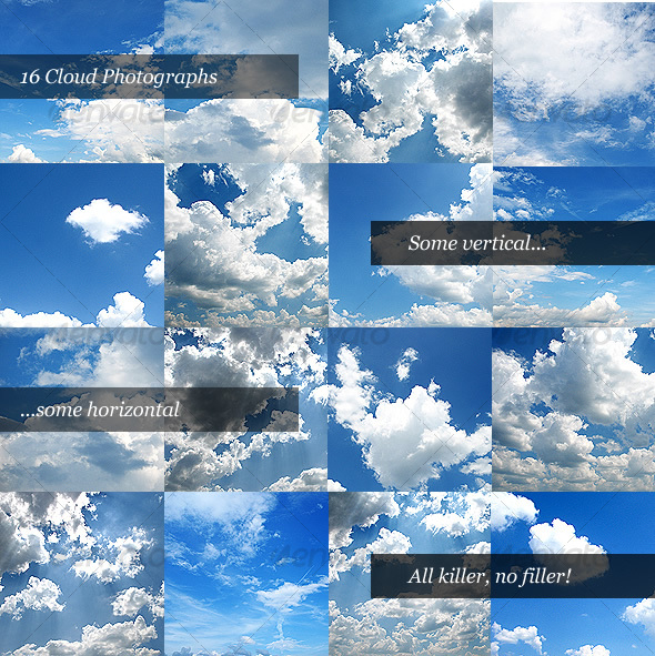 GraphicRiver Cloud Backgrounds Pack of 16 Clouds 30424