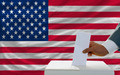 man voting on elections in america in front of flag - PhotoDune Item for Sale