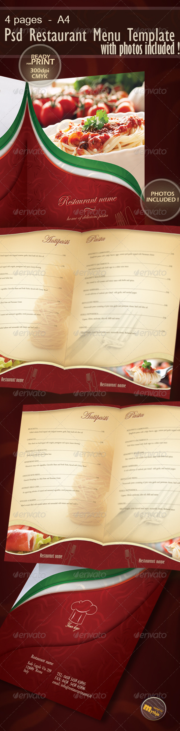 GraphicRiver Restaurant Menu template with photos incuded 1176350