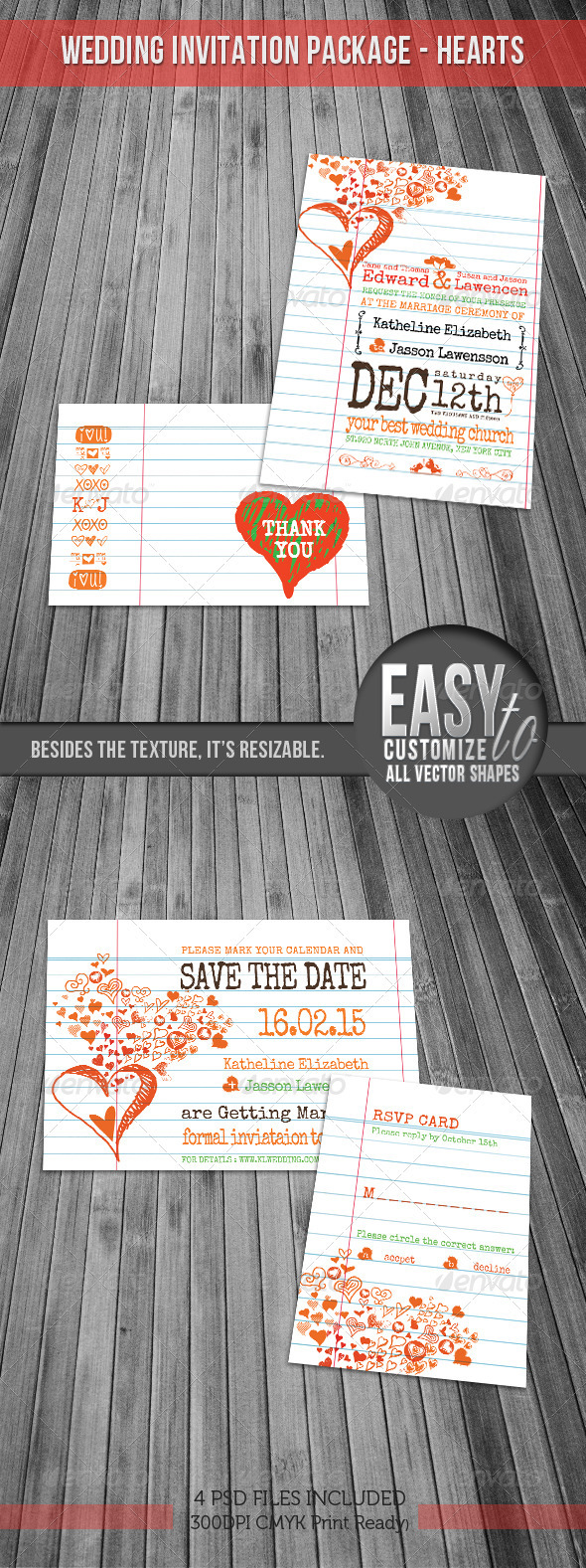 GraphicRiver Wedding Invitation Package Hearts Notebook 1177558