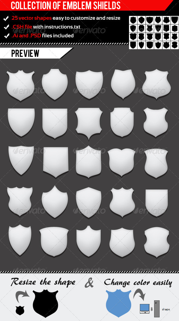 GraphicRiver Collection Of Emblem Shields 1180492