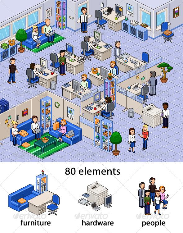 GraphicRiver Pixel Art Office Set 144635