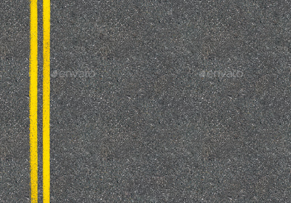 Asphalt road top view with two yellow lines Stock Photo by ...