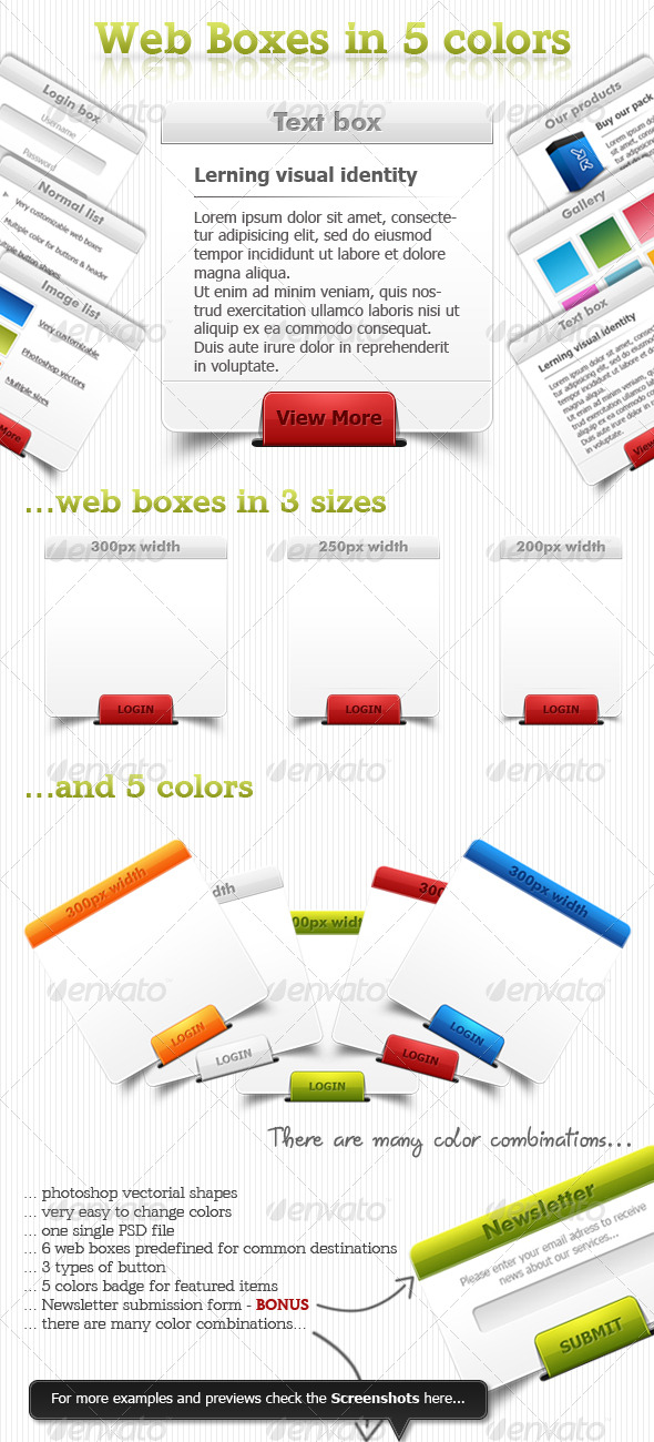 GraphicRiver Web boxes in 5 colors 145335