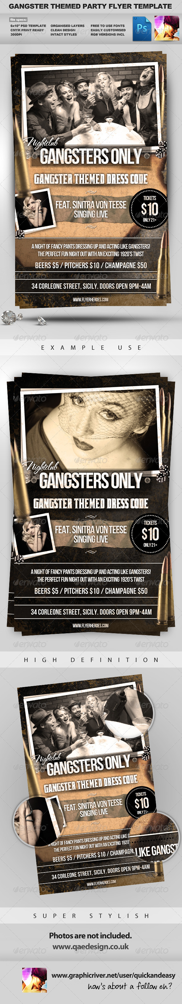 GraphicRiver Gangsters Only Gangster Themed Flyer Template 1203547