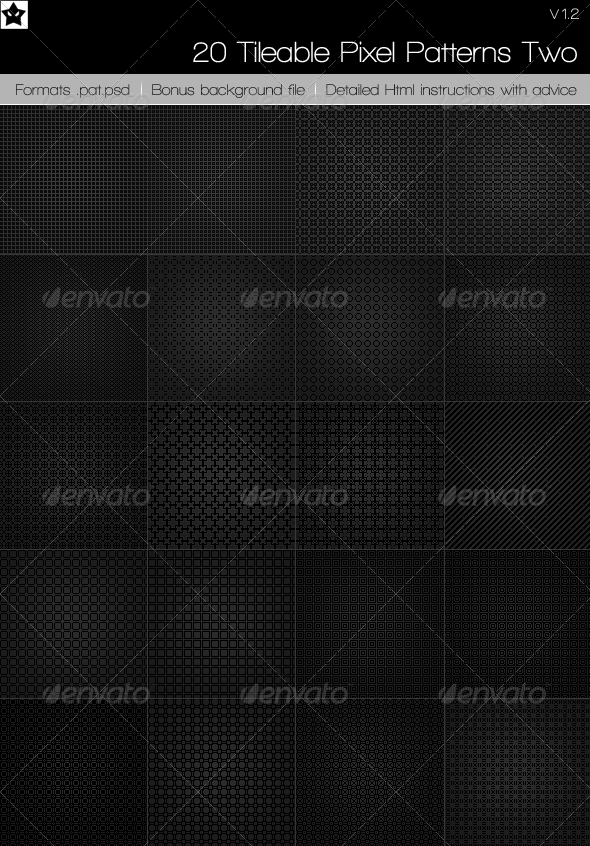 GraphicRiver 20 tileable pixel patterns 4 117998